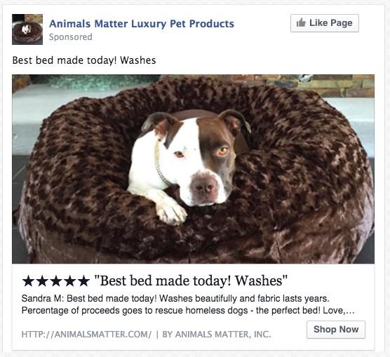 Animal Matter Luxury Pet Products FB ad screenshot