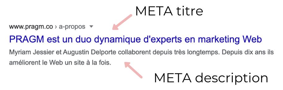 meta titre et description SEO : ça ressemble à un titre en bleu et deux phrases en dessous en noir