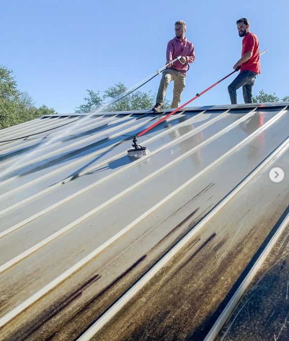cleaning a metal roof