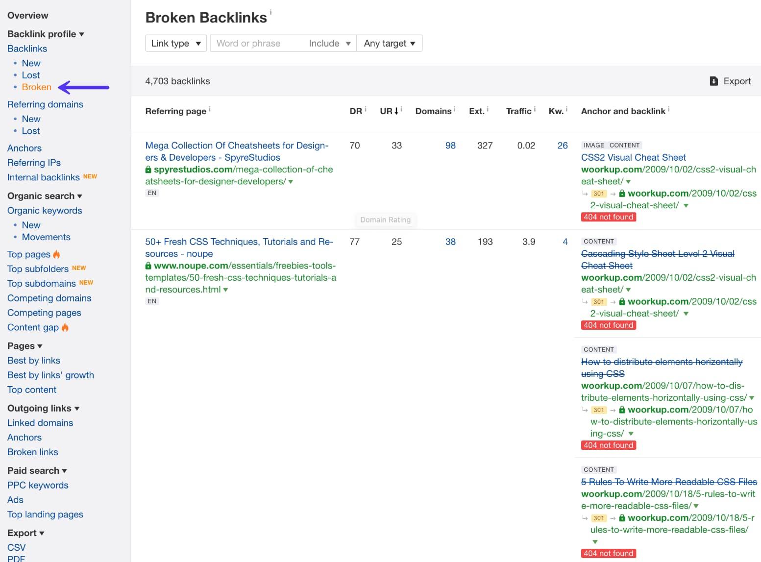 Ahrefs backlink profile - broken link