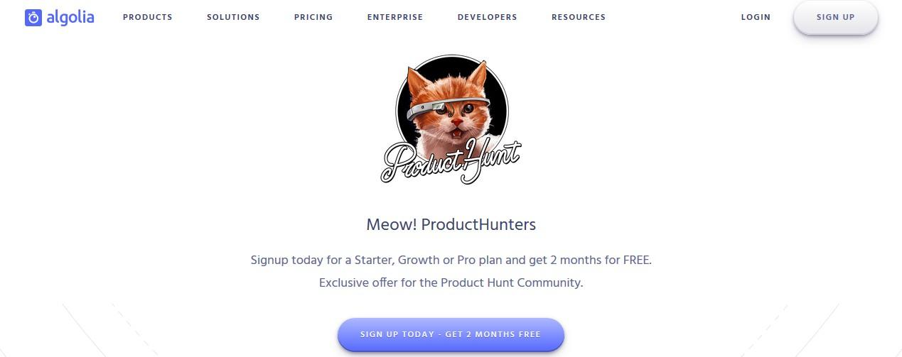 dedicated product hunt page on company website