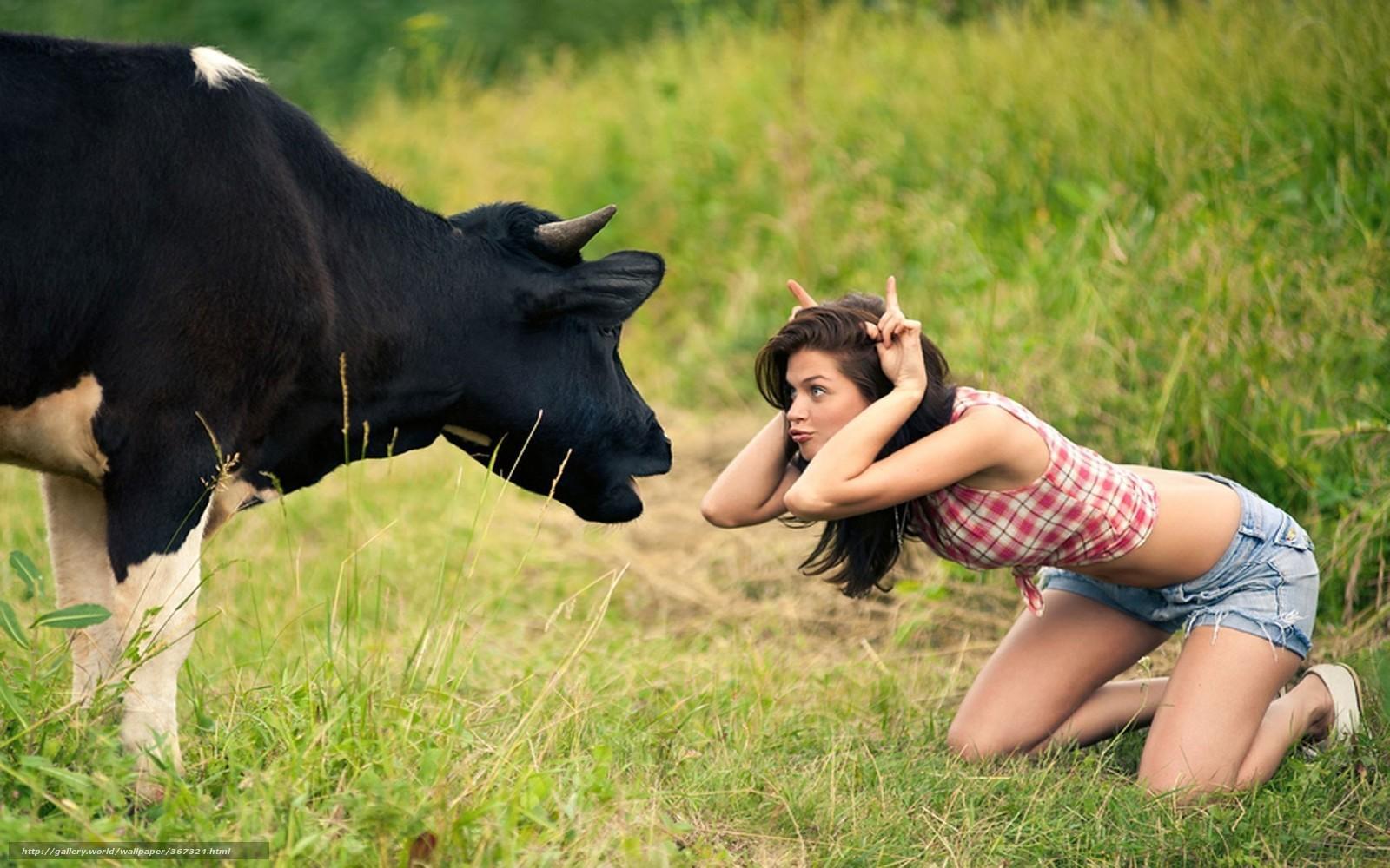 pobra tapety krowa,  dziewczyna,  ka,  wygup Darmowe tapety na pulpit rozdzielczoci 1920x1200 — zdjcie №367324