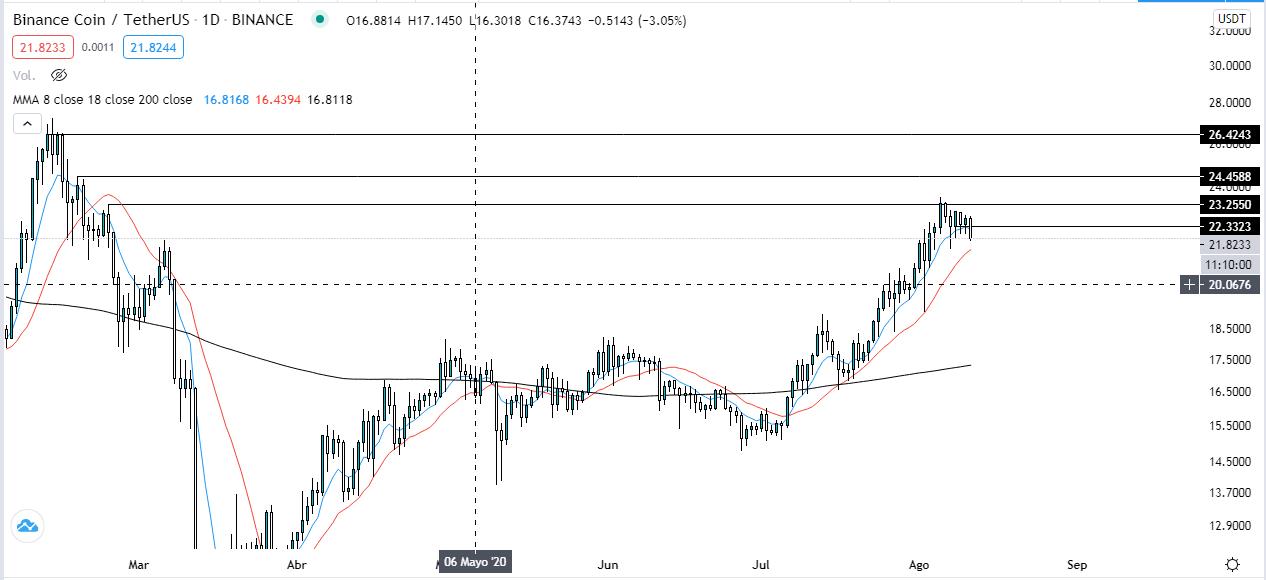 Gráfico diario del token BNB de Binance. Fuente: TradingView