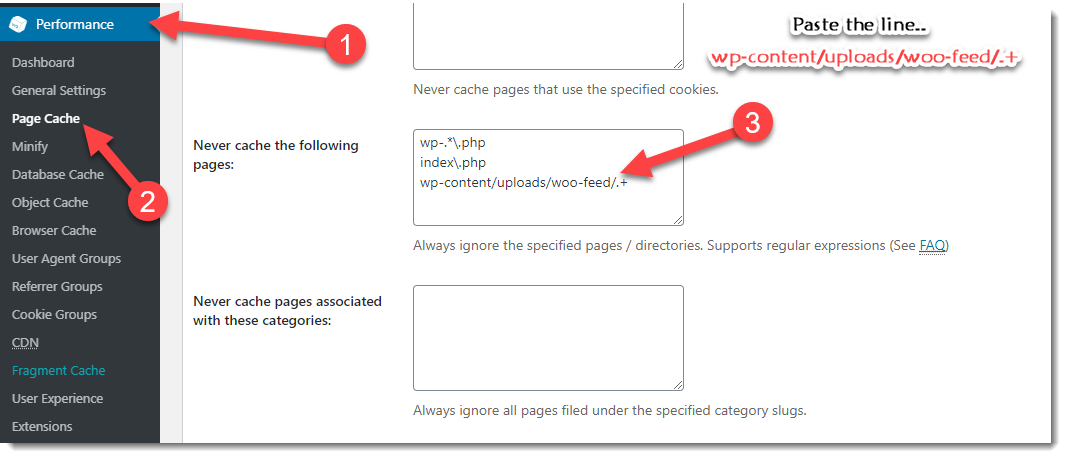 exclude feed file W3 Total Cache cache