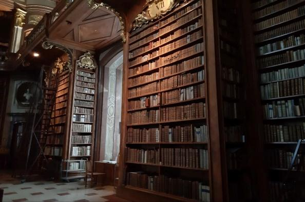 A room with a book shelf  Description automatically generated