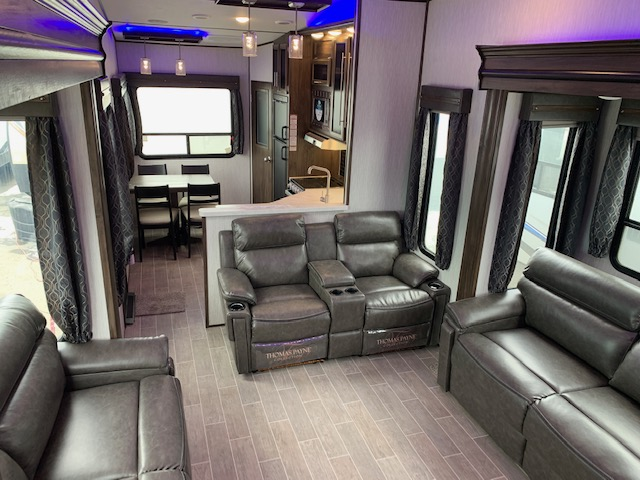 the interior of a lux Artic Wolf trailer at South Thompson RV