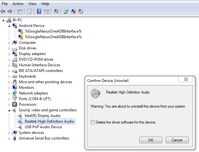 Uninstalling of Audio driver confirmation