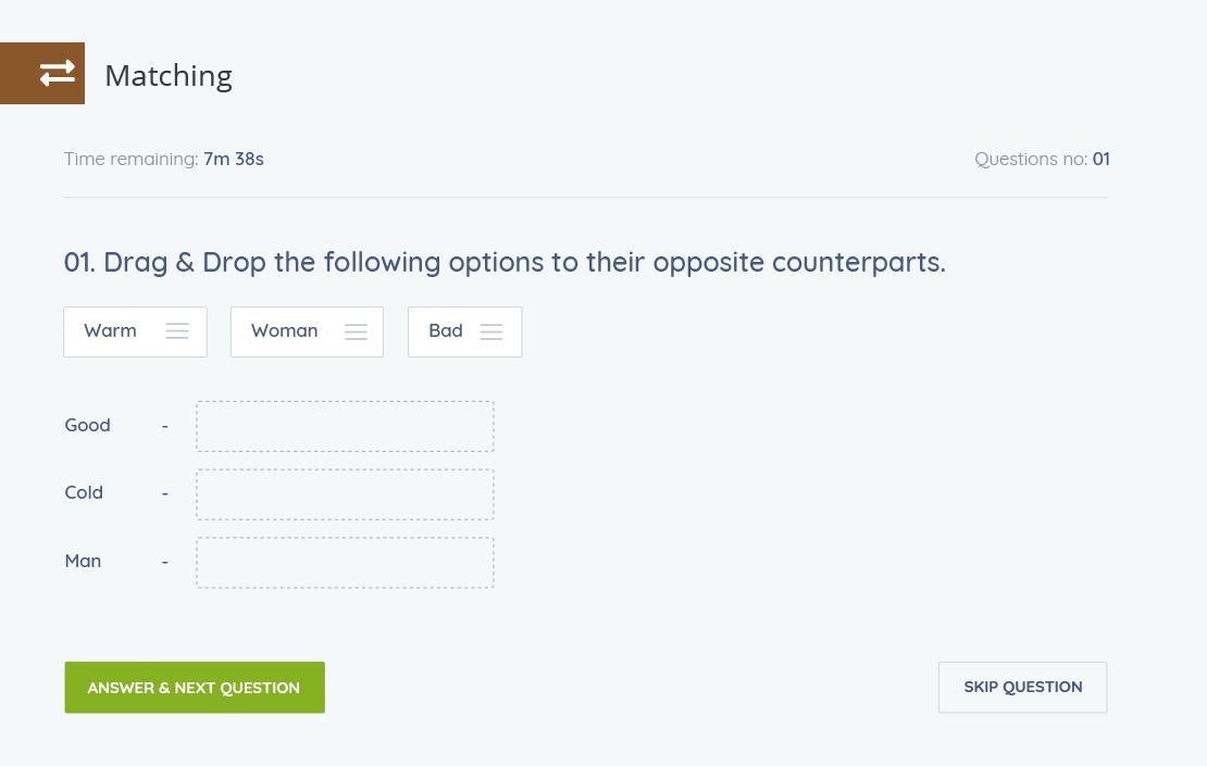 Tutor LMS - Matching quiz option