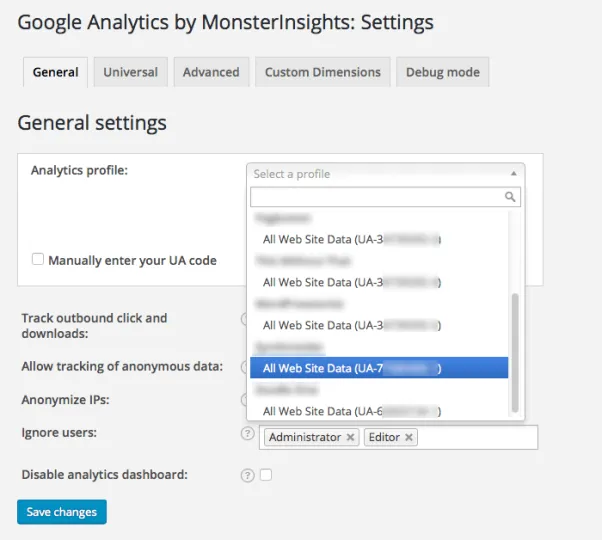 Go to settings page of Google Analytics by MonsterInsights plugin to enable file download tracking on wordpress.