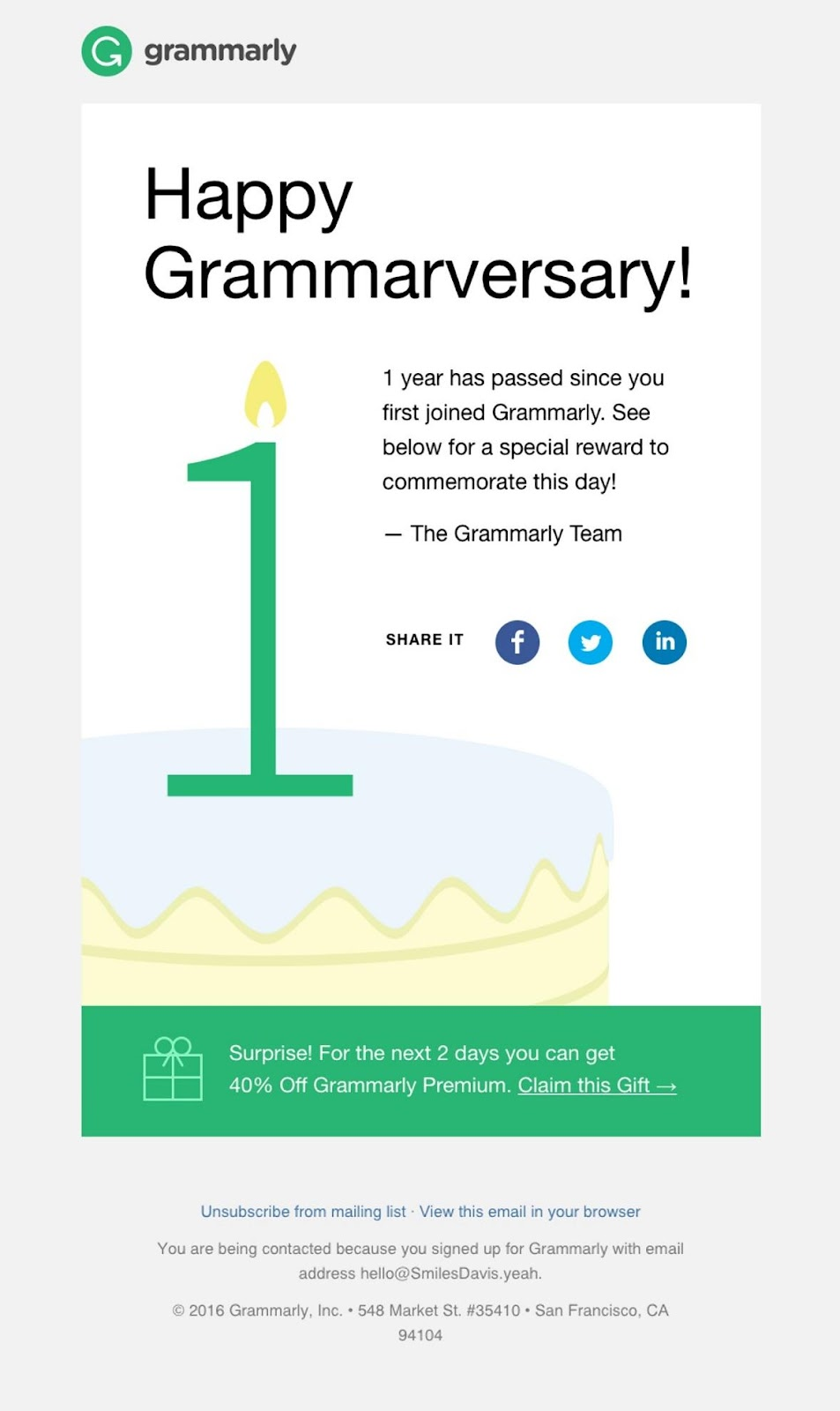 grammarly welcome email example