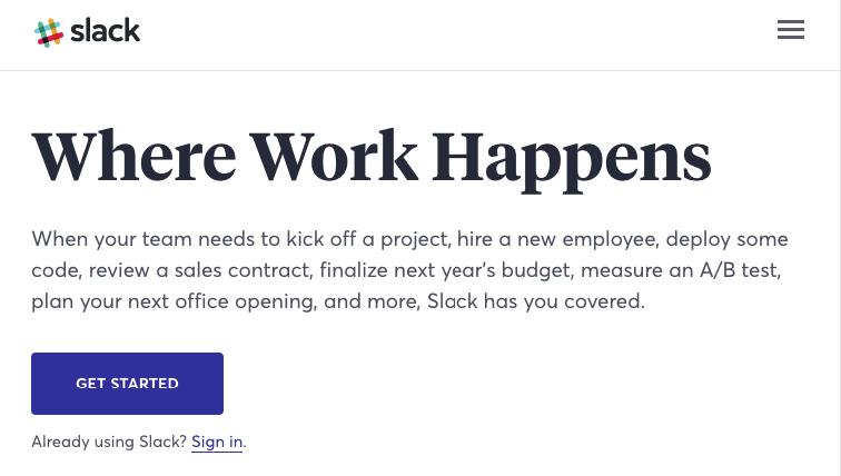 landing-page-essentials-slacks-homepage nutzt eine detaillierte Unterüberschrift