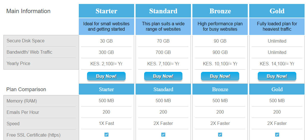 kenya web experts packages when hosting a website in Kenya