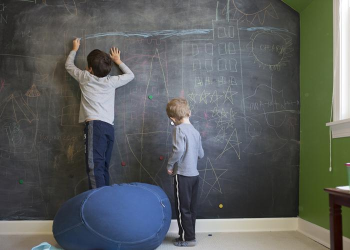 Chalk paint to transform wall into chalkboard.