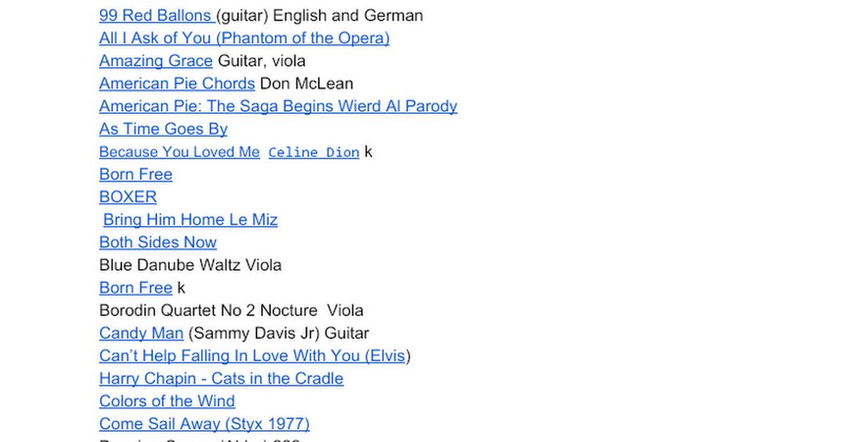 Arthur Fiddler Song Playlist Notes Lyrics* - Google Docs