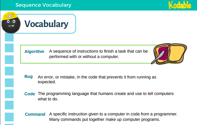 kids coding vocabulary lists