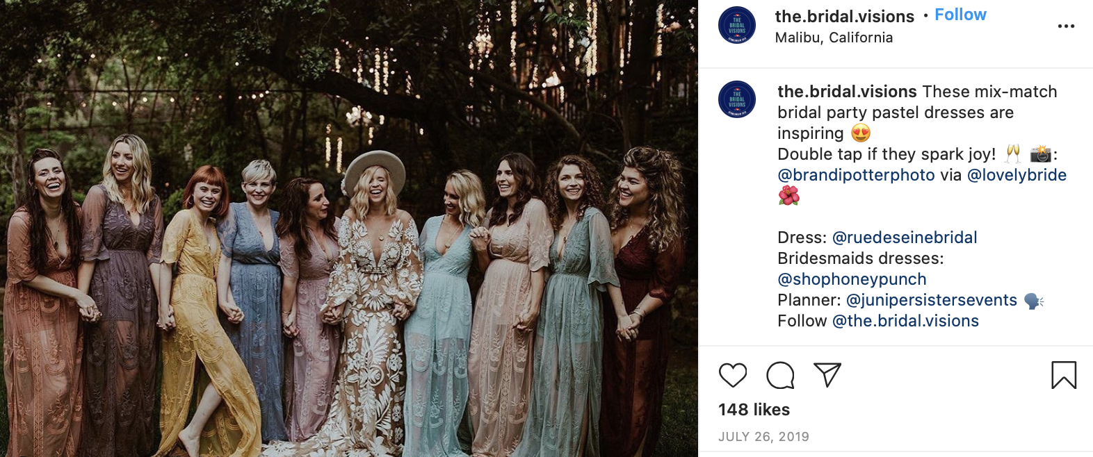 bride and her bridesmaids wearing mix and match dresses