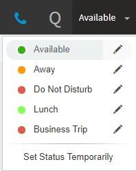 """Opzioni del menu """"Imposta stato"""" nel Web Client 3CX."""