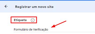 campo de etiqueta de verificação do recaptcha