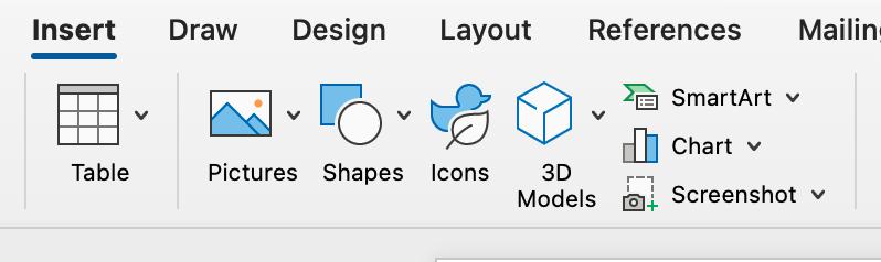 Screenshot of graphics options in Microsoft Word.