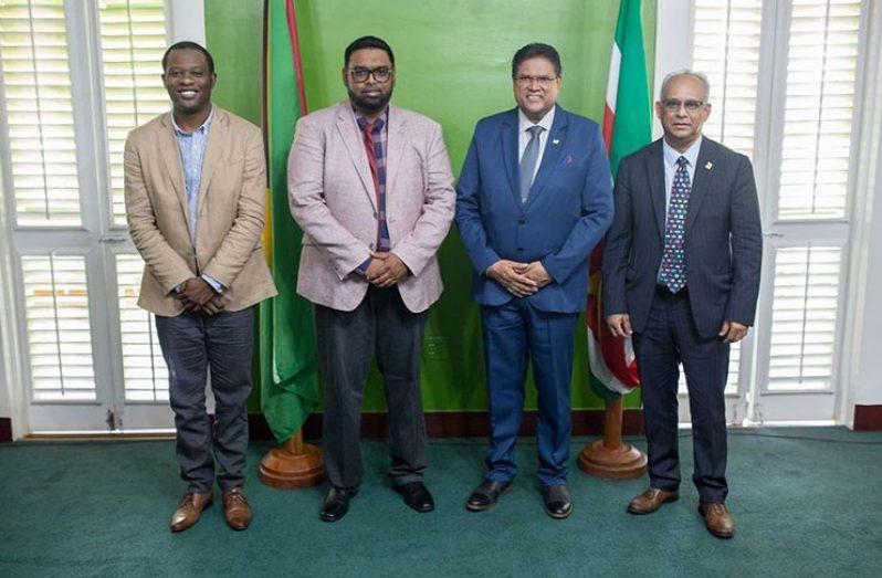 From left are Minister of Foreign Affairs, Hugh Todd; Guyana's President Mohamed Irfaan Ali; President Chandrikapersad Santokhi of Suriname; and Suriname Minister of Foreign Affairs, Albert Ramdin