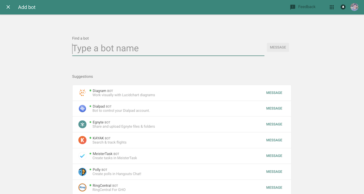 Add bots to Google Hangouts Chat
