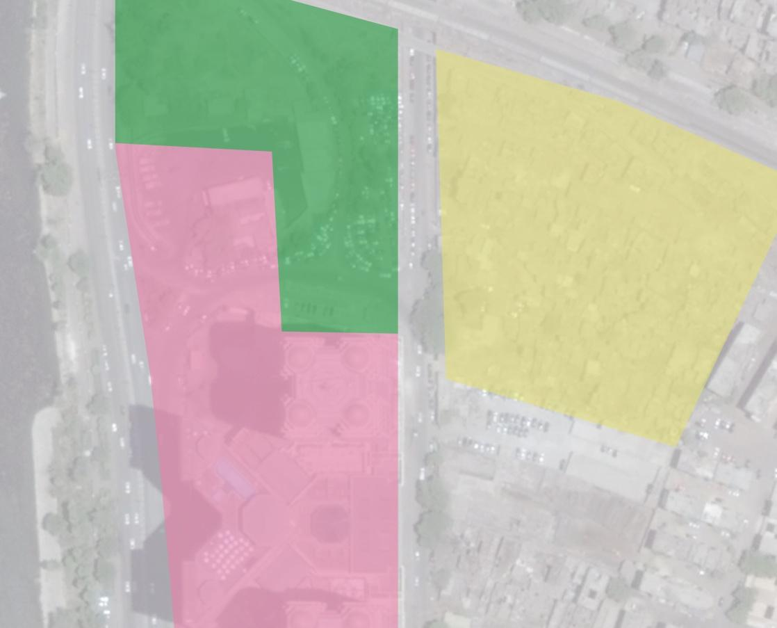 رملة بولاق قبل 1996.. حديقة عامة (اللون الأخضر).. المنطقة السكنية (اللون الأحمر).. الورش والمصانع (اللون الأصفر)
