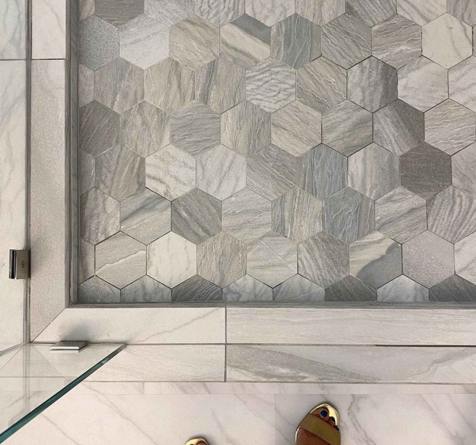 superior-construction-mt-juliet-tn-porcelain-vs-ceramic-hexogon-tile-in-shower-floor