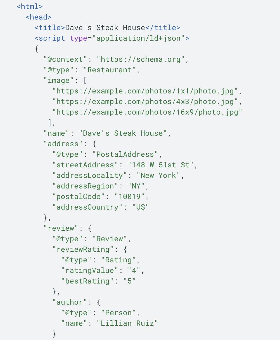 google example of JSON-LD local schema