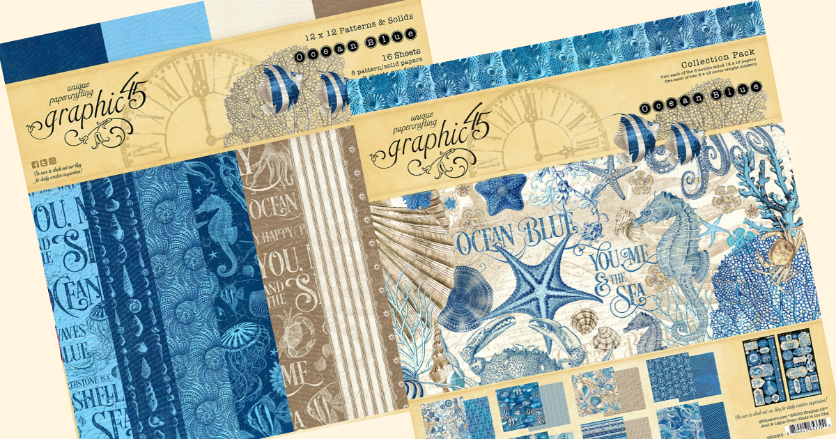 Graphic 45 OCEAN BLUE 8x8 Paper Pad 24 Sheets Sea Life Mixed Media Scrapbook