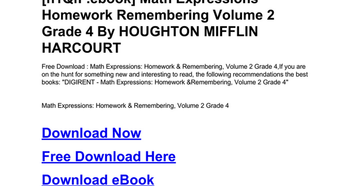 Math Expressions Homework Remembering Volume 2 Grade 4doc Google