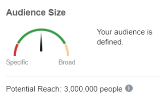 Facebook potential audience size gauge