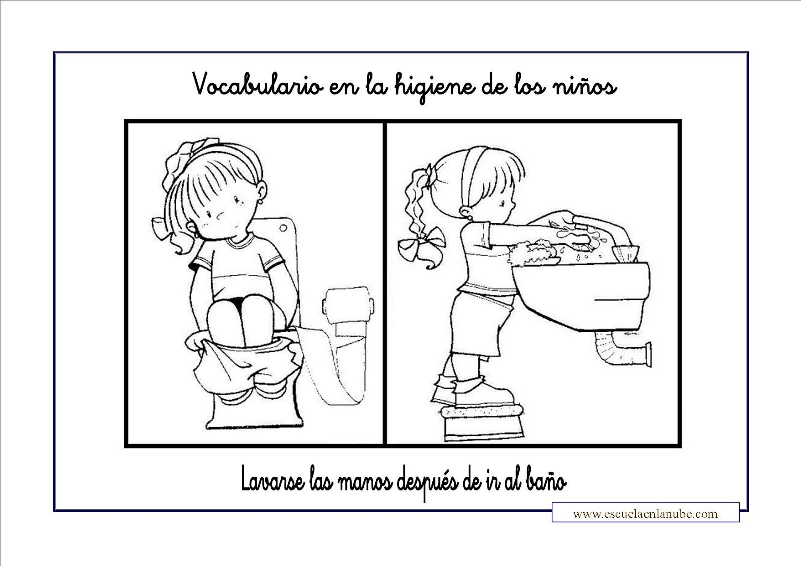 Baños Infantiles Para Colorear:Dibujos para colorear bañarse lavarse las manos y cepillarse los