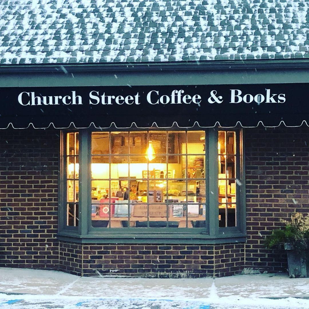 Image of the front of the building of Church Street Coffee and Books. How to find the best coffee in Birmingham AL