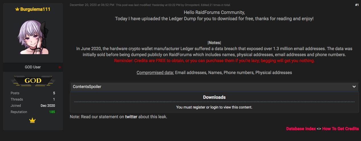 Скриншот сообщения хакера на Raidforums о выкладывании базы данных Ledger.
