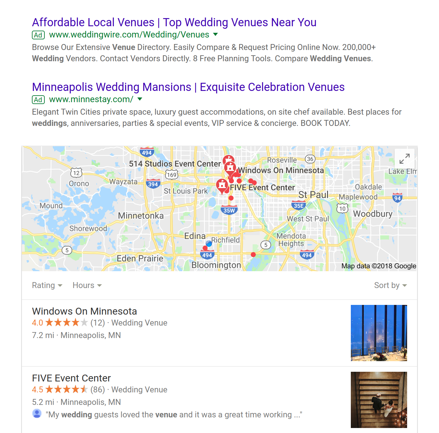 google search results of wedding venue advertising