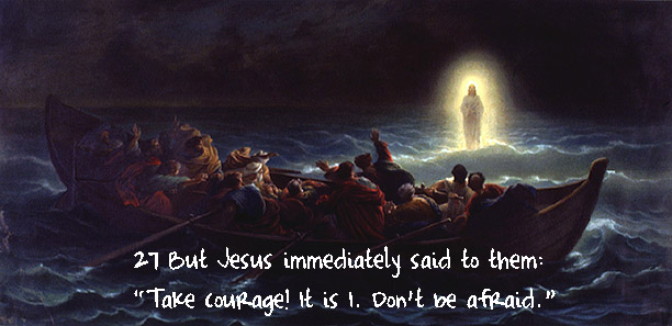 Jesus appears on the water to a boatload of men