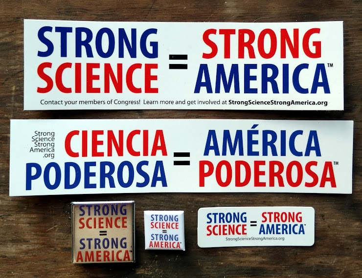 Here's the rest of our swanky SSSA merchandise! Show your support for science! All proceeds are reinvested in more stickers and buttons, to get this message out!