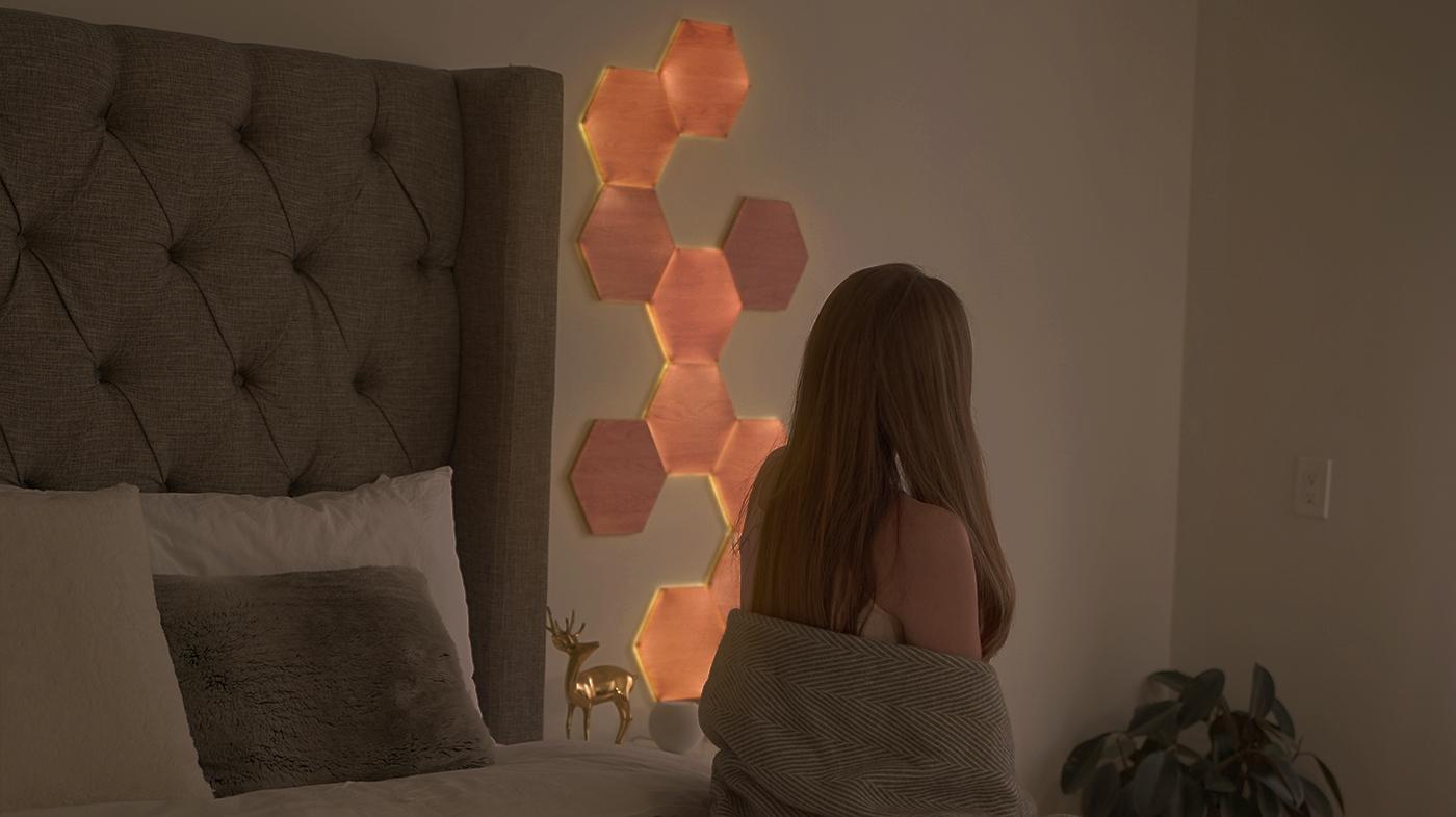 Warm Bedroom Lighting with Nanoleaf Elements Light Panels for Better Sleep