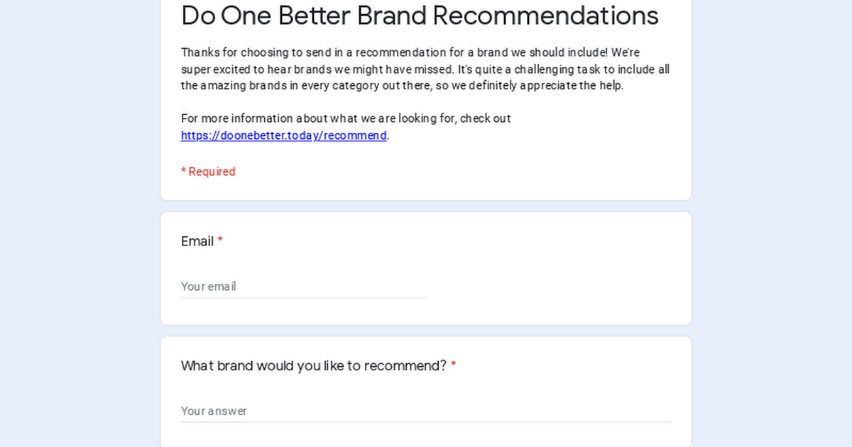 Do One Better Brand Recommendations
