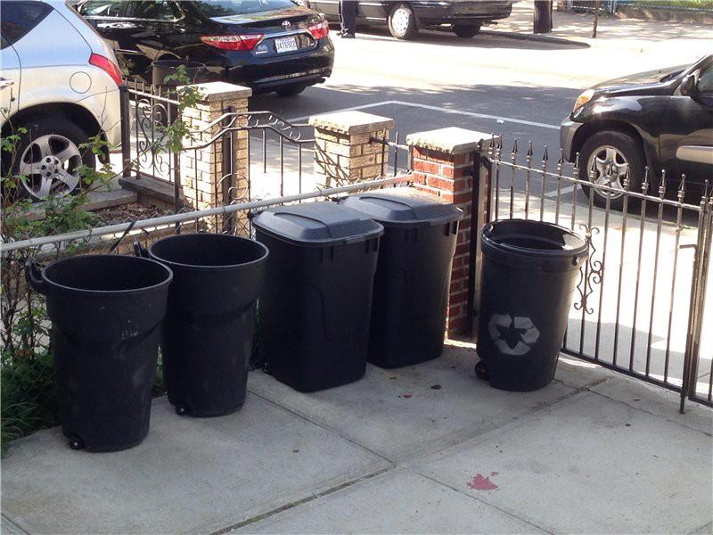 Фрагмент дворика с мусорками. США глазами туриста, туризм, факты