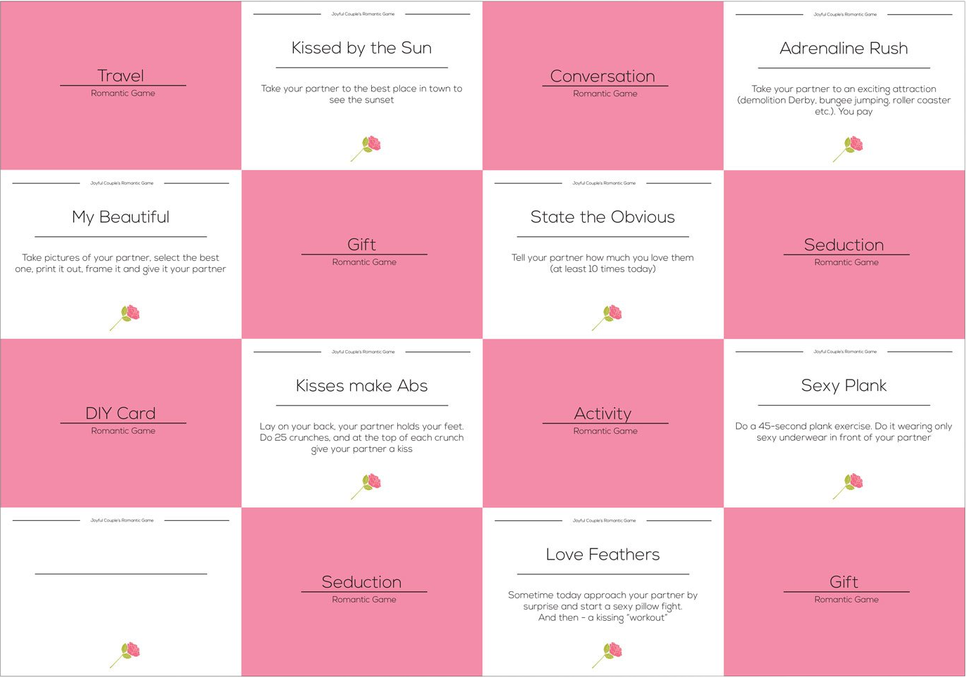Joyful Couple Romantic Game example cards.
