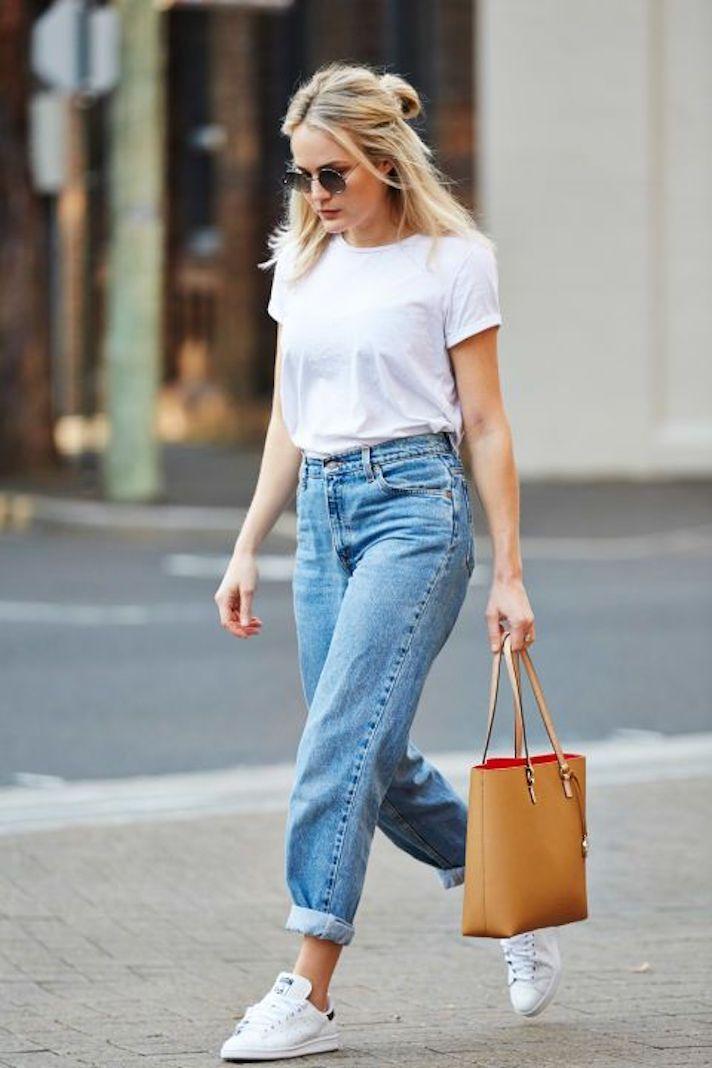 White Tee Shirt with high waist blue jeans