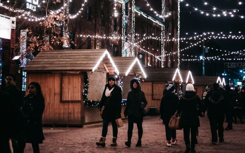 walking at night in the Ljubljana Christmas market