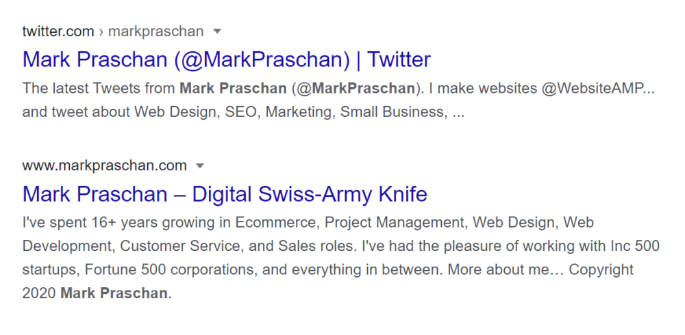 """Search results for """"Mark Praschan"""", 2020"""