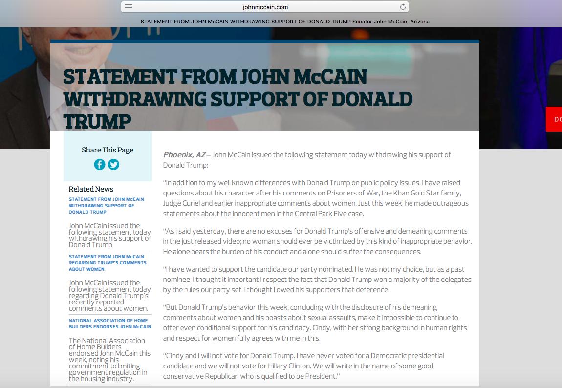 McCain camapign website screenshot.png