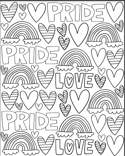 """Black and white coloring sheet with hearts, rainbows and the word """"PRIDE"""""""