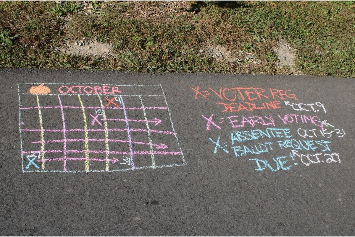 Chalk drawing of a calendar showing the various voting deadlines.