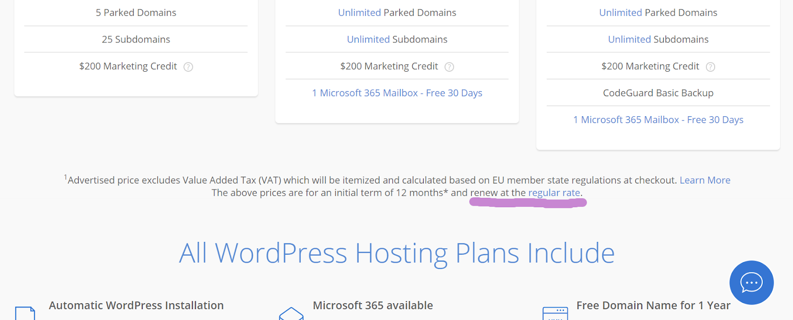 screenshot wordpress hosting plans pricing