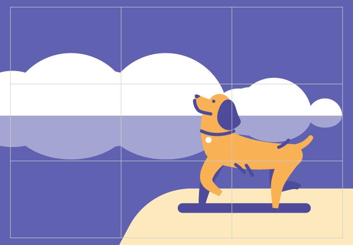Rule of thirds dog illustration