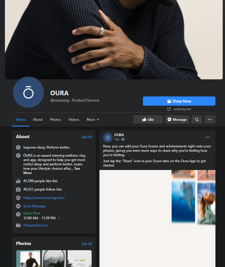 oura facebook page example